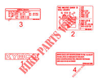 LABELS for Kymco QUANNON 125 NAKED 4T EURO III
