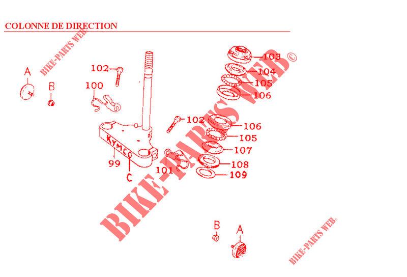 Kymco moto 125 ZING ZING 125 4T ZING 125 4T ZING 125 4T STEERING COLUMN