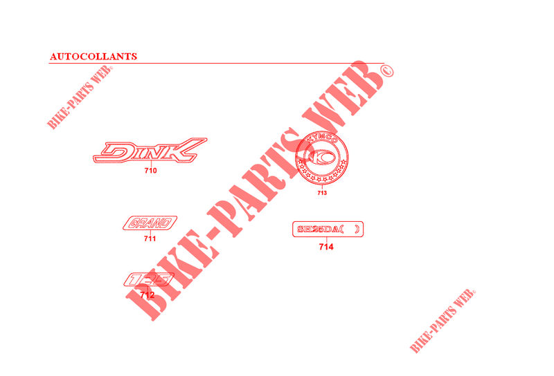 STICKERS for Kymco GRAND DINK 125 4T EURO I