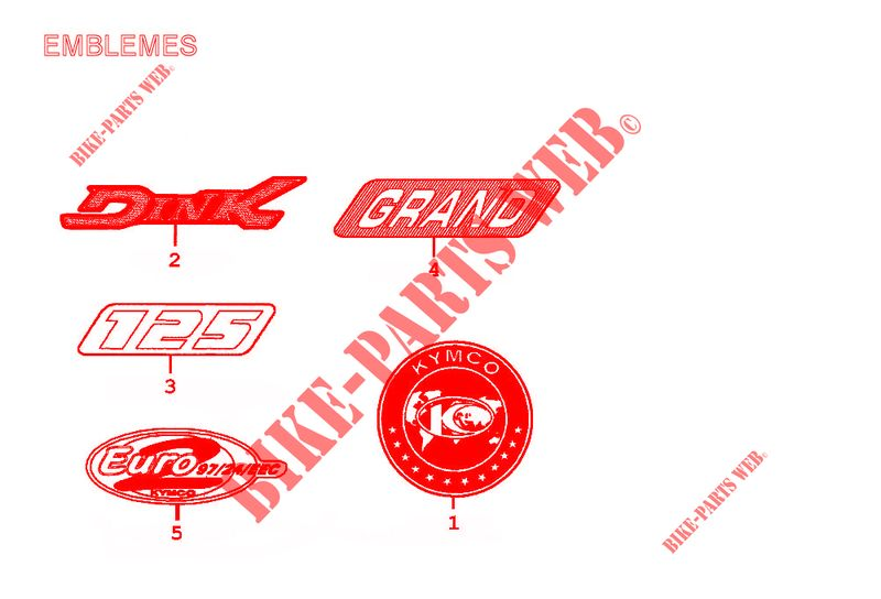 Kymco scooter 125 DINK GRAND DINK 125 4T EURO II  GRAND DINK 125 4T EURO II GRAND DINK 125 4T EURO II STICKERS