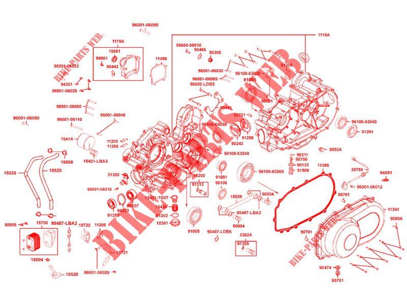 ENGINE CASINGS for Kymco KYMCO UXV 500 I 4T EURO II # KYMCO