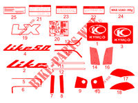 STICKERS for Kymco LIKE 50 LX 2T EURO II